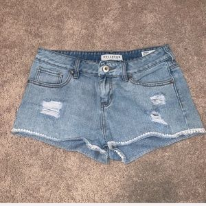 Low Rise Jean Shorts with White Trim
